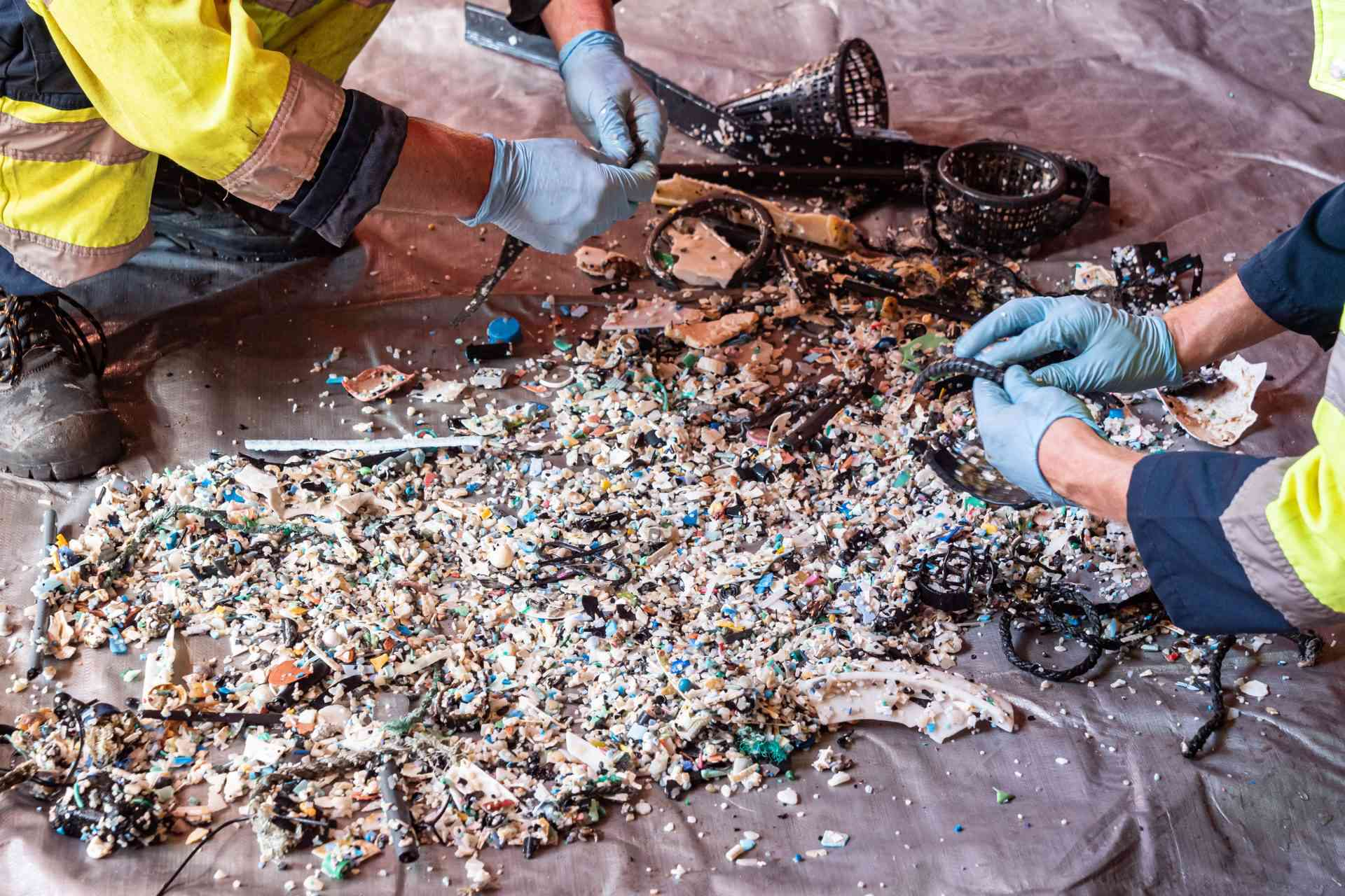 Ocean Cleanup Crew members sort plastic from the first successful haul and sort it into types.