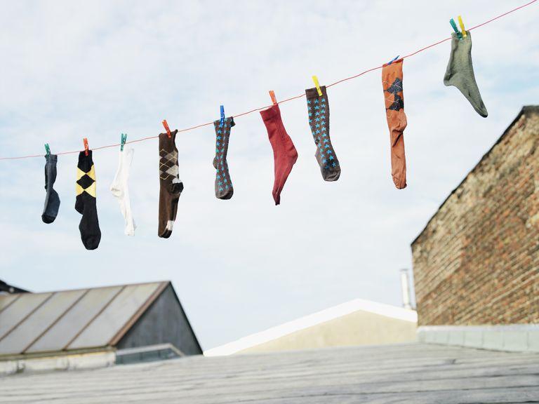 socks hanging on a washline
