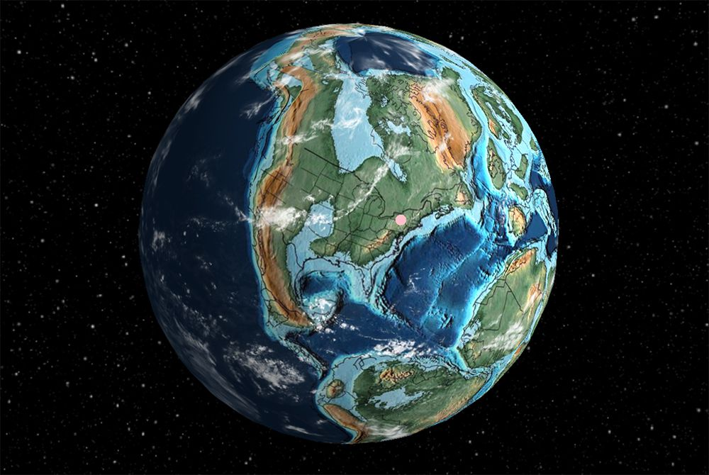 North America as it likely appeared some 105 million years ago during the Cretaceous Period.