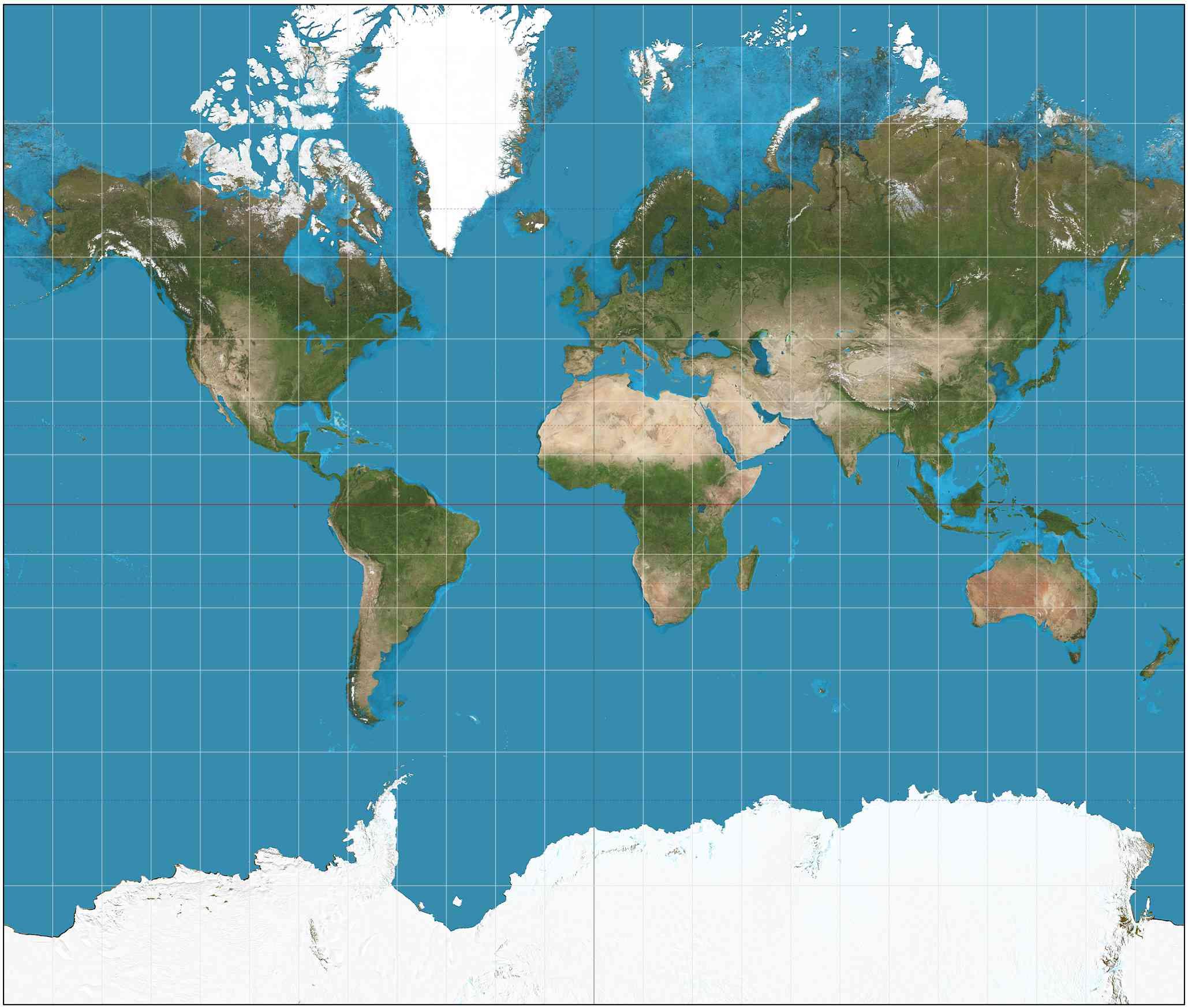 modern Mercator projection map