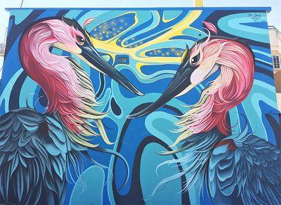 birds flowers nature street art murals by Fio Silva
