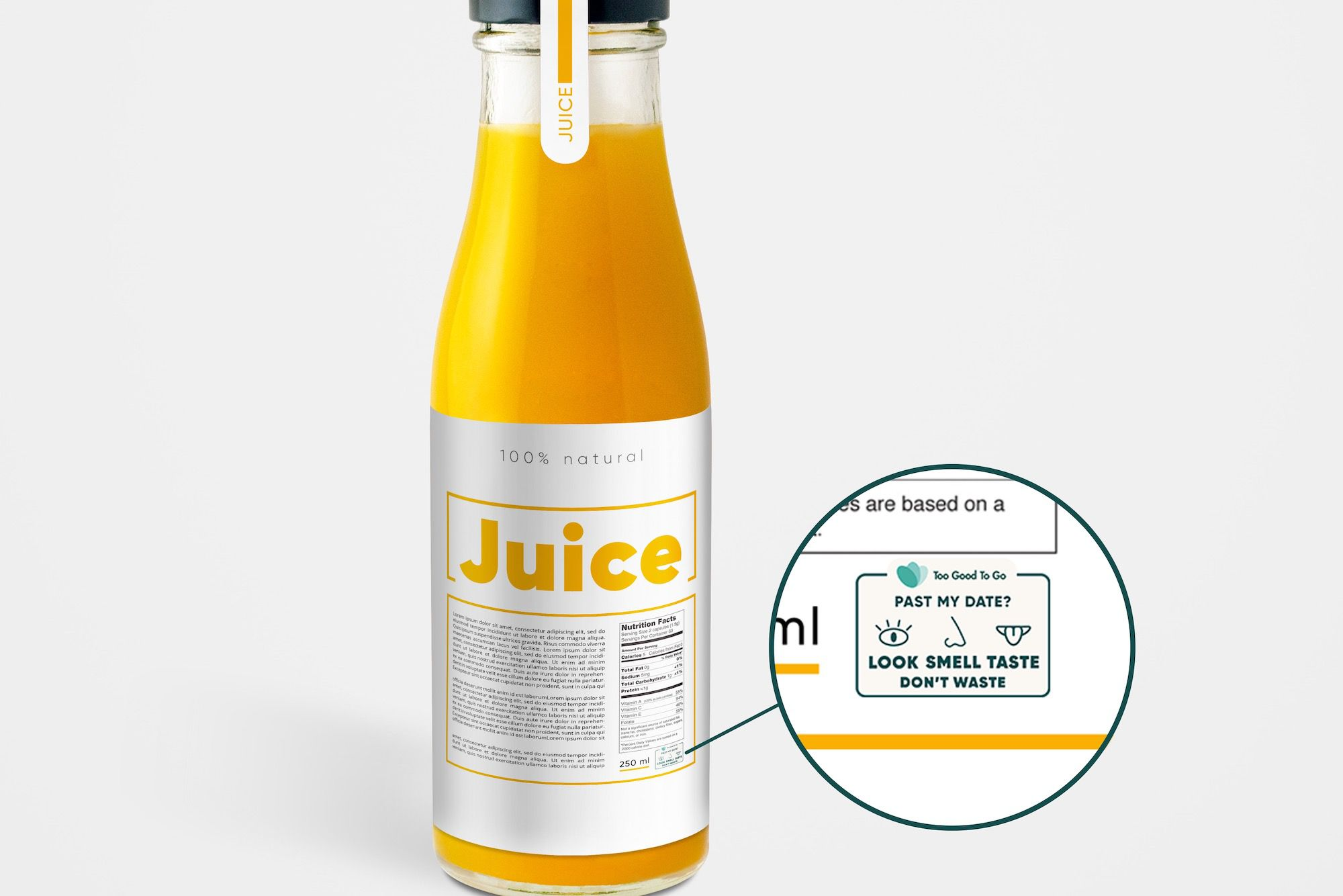 juice bottle with anti-food waste label