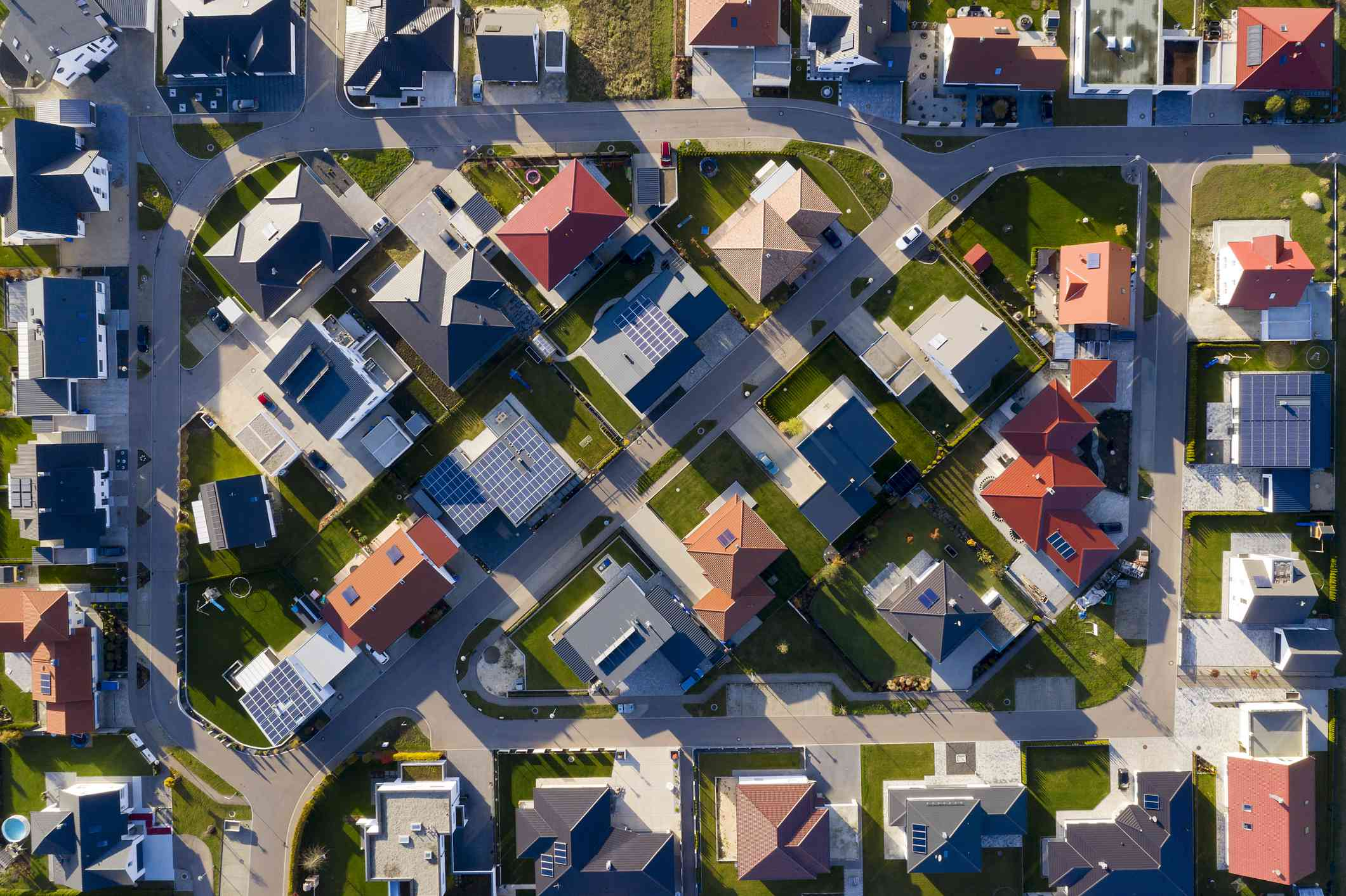 Aerial view of a modern houses in a new housing development.
