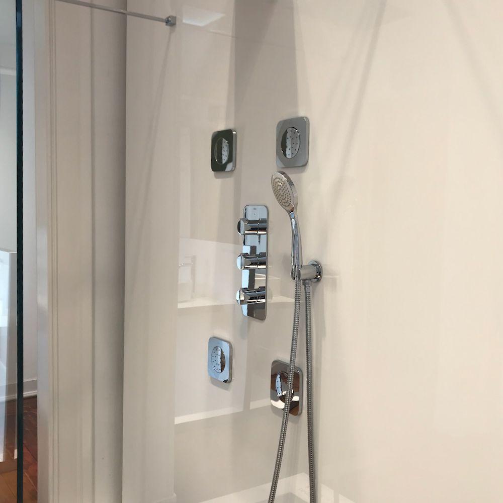 Shower setup in showroom