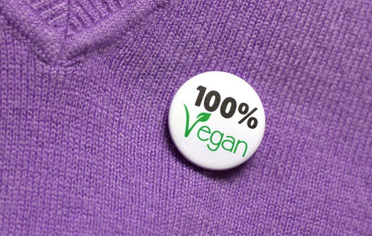 Button on sweater reading 100% vegan