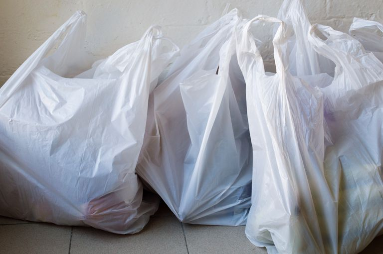 High Angle View Of Plastic Bags On Floor