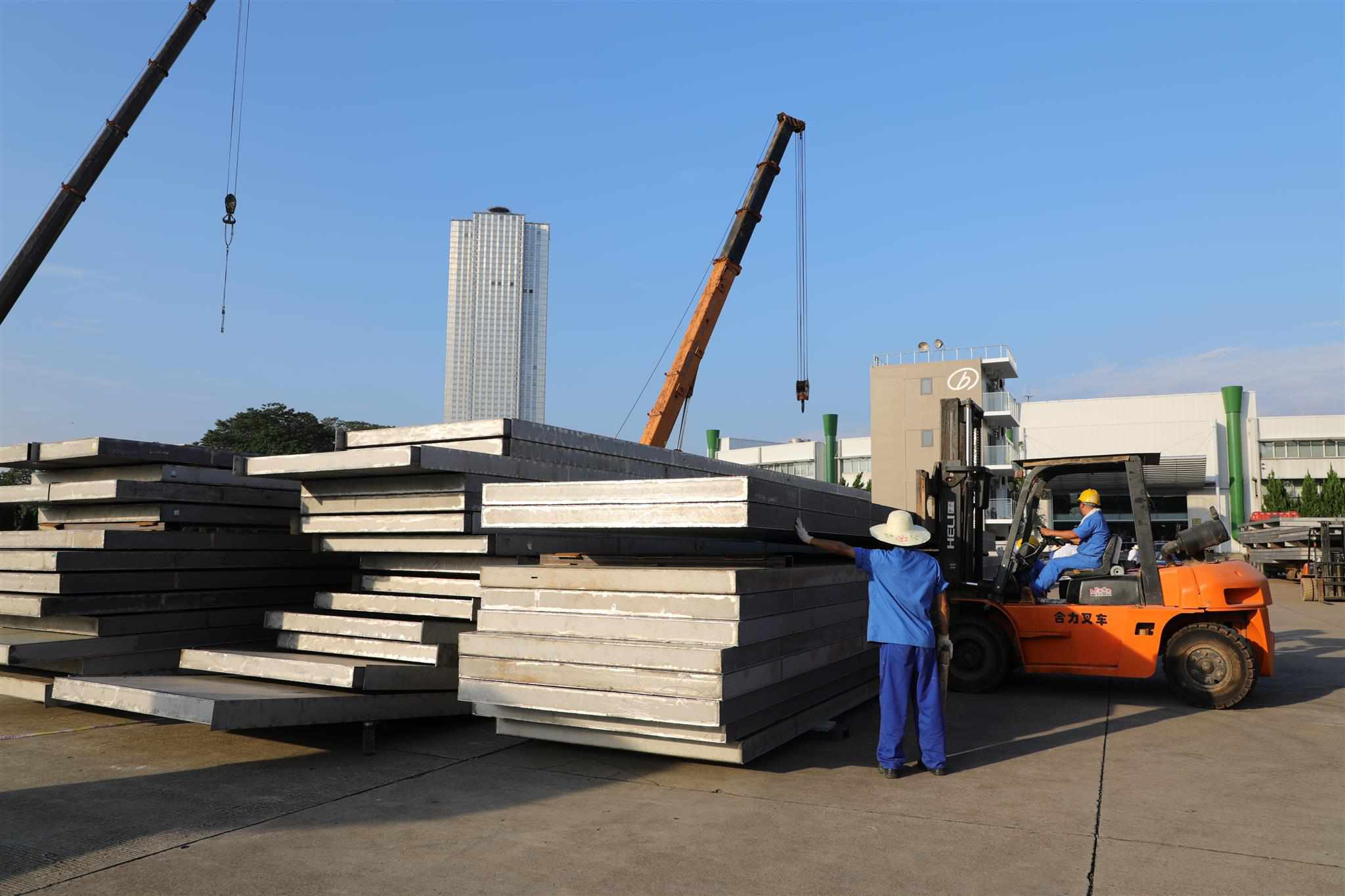 Slabs waiting for assembly