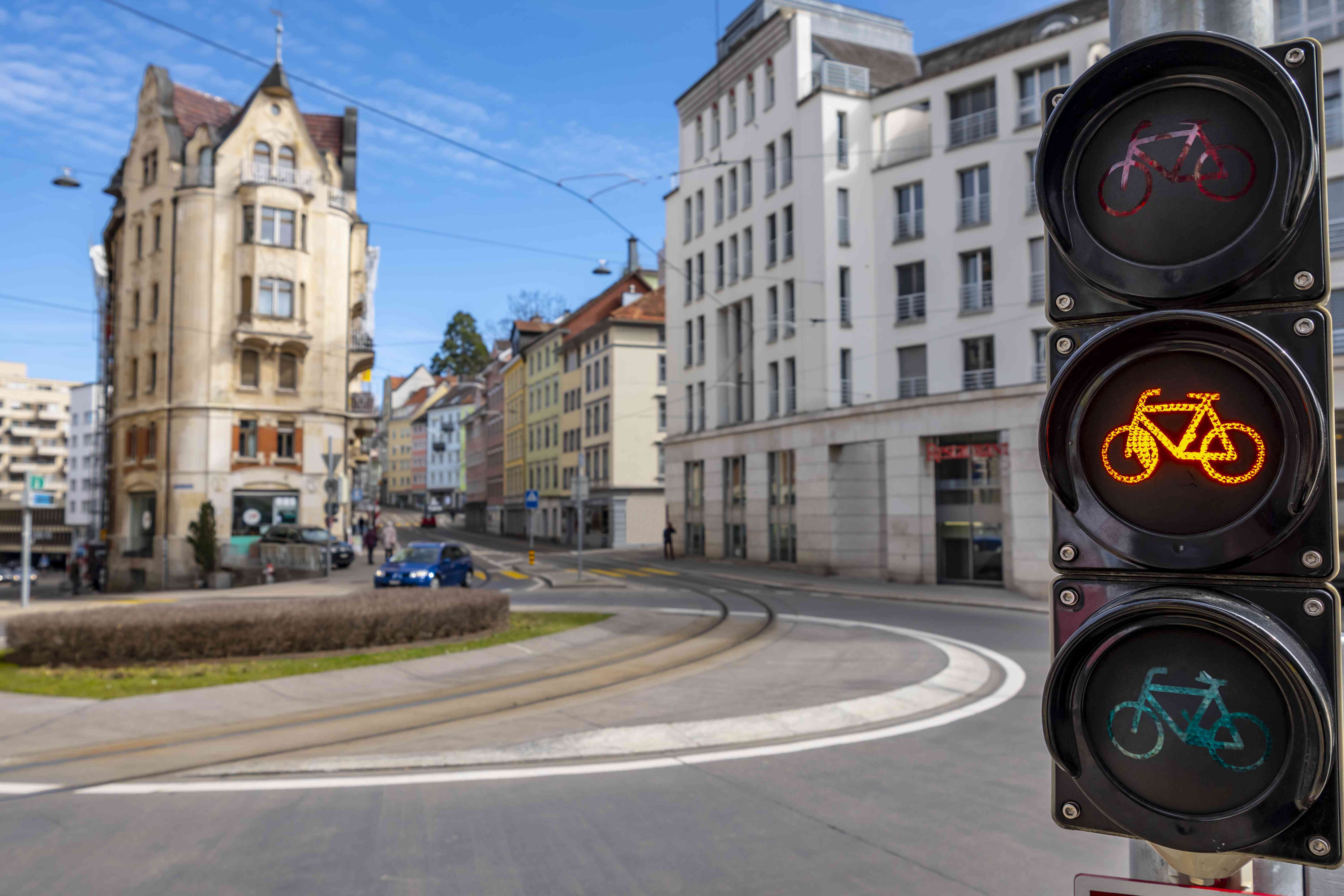 Traffic Light for Bicycle in City