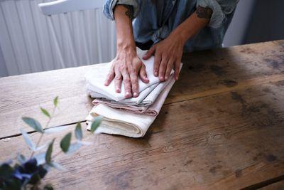 Cloth napkins on a table