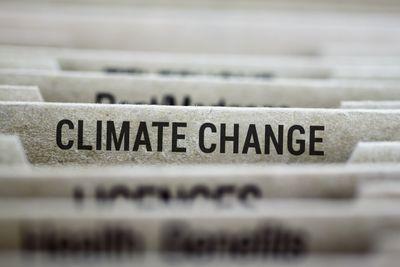 Climate change labeled file folder tab