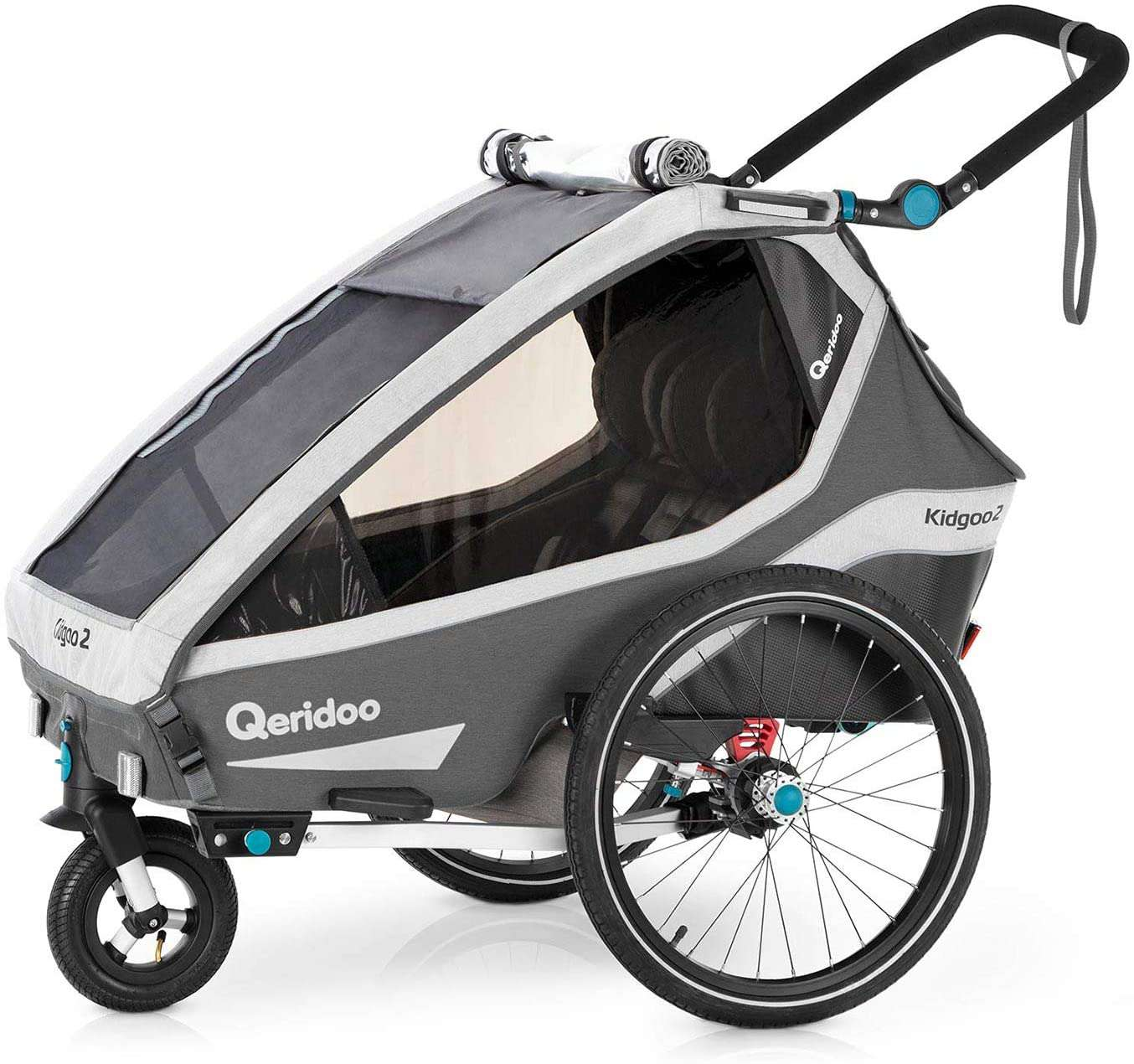 Qeridoo Kidgoo2 Double 2 Seat Kids Bike Trailer & Stroller