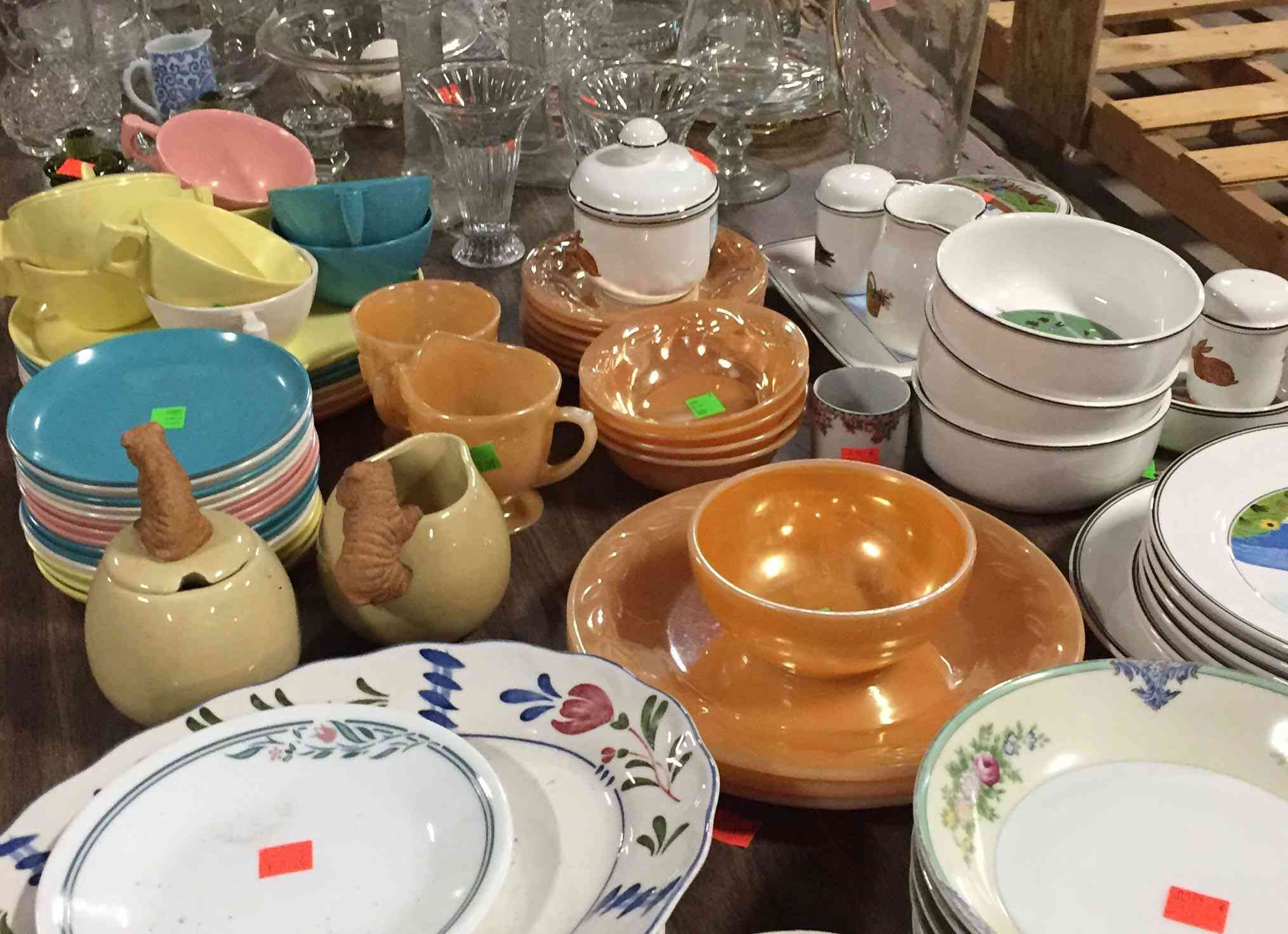 dishes, thrift store