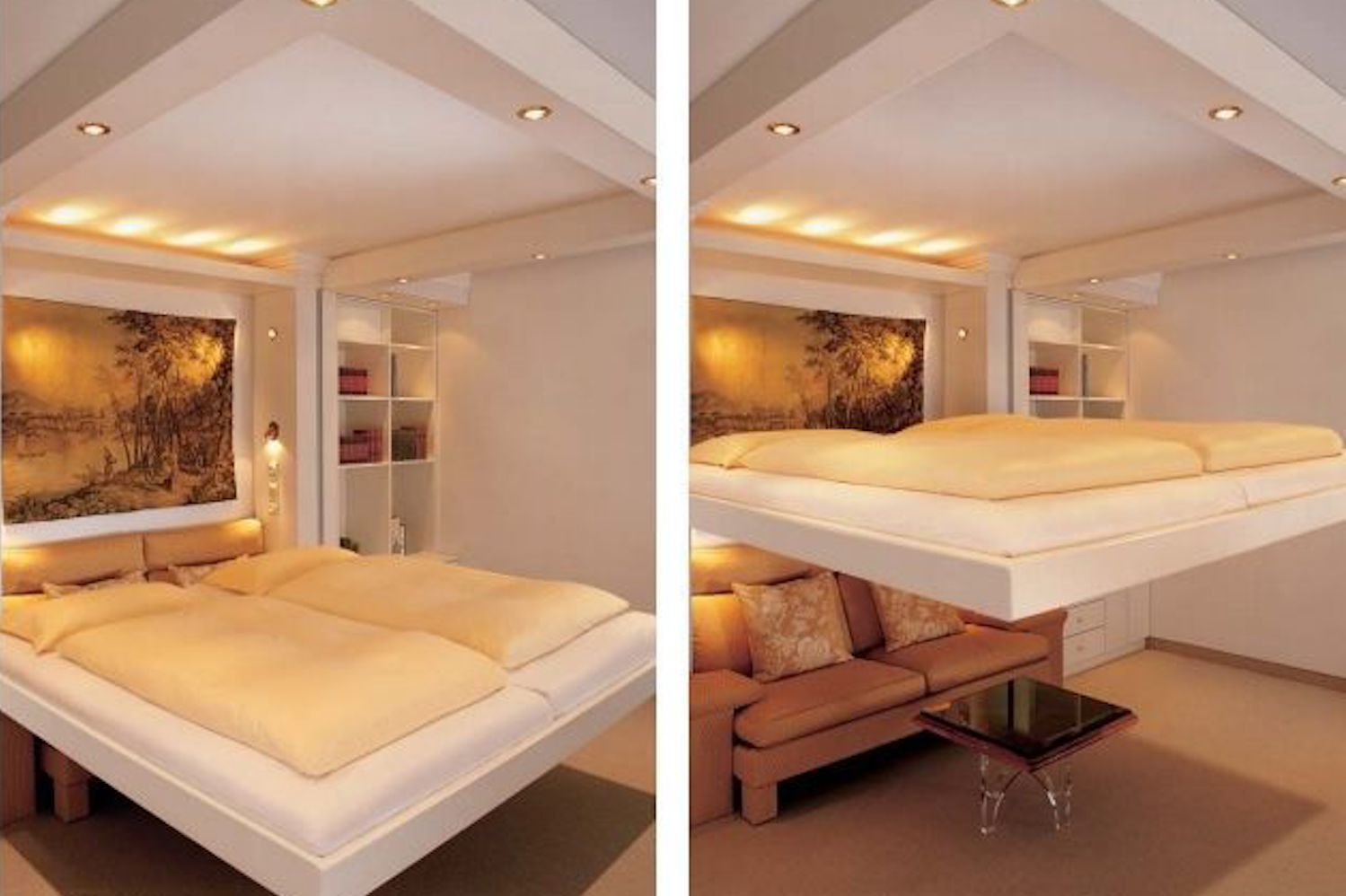 Demonstration of a bed lifting off the ground towards the ceiling for storage