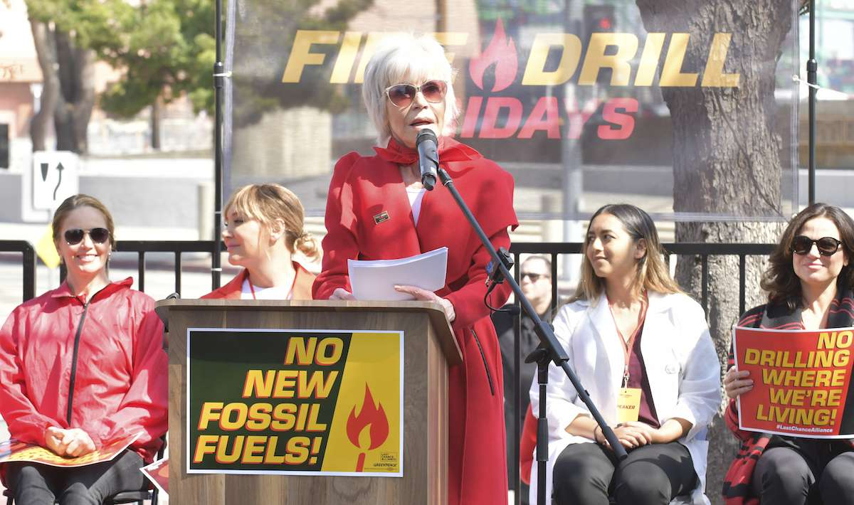 Jane Fonda speaks onstage at Greenpeace USA Brings Fire Drill Fridays To California at San Pedro City Hall on March 06, 2020 in Wilmington, California.
