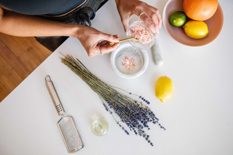 overhead shot making salt scrub