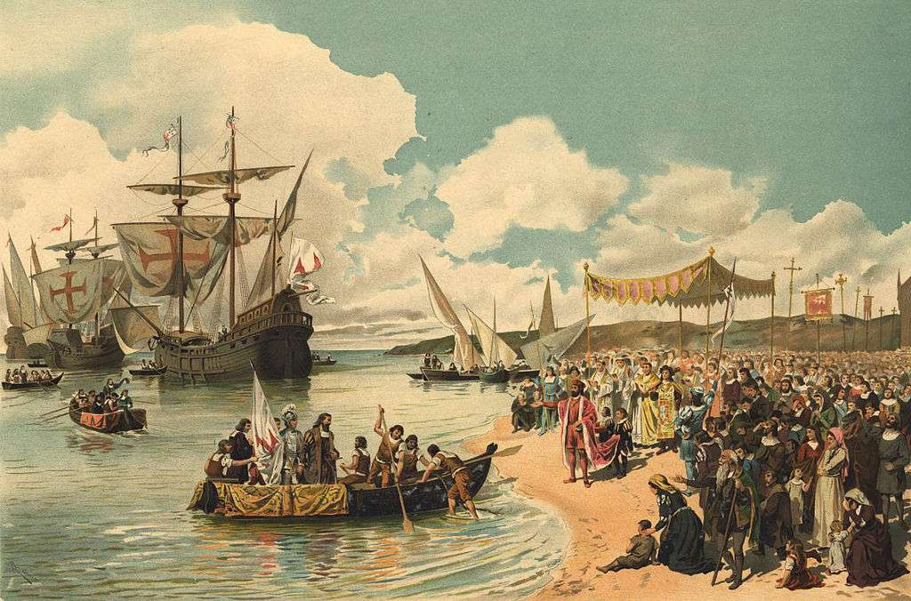 A painting shows Vasco da Gama leaving Portugal to sail around the Cape of Good Hope