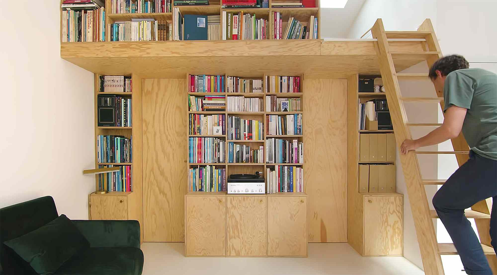 Jourdain micro-apartment renovation Matthieu Torres ladder