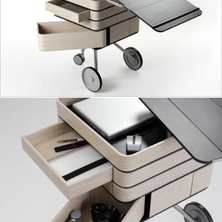 Creative Industrial Objects home office on wheels unfolded
