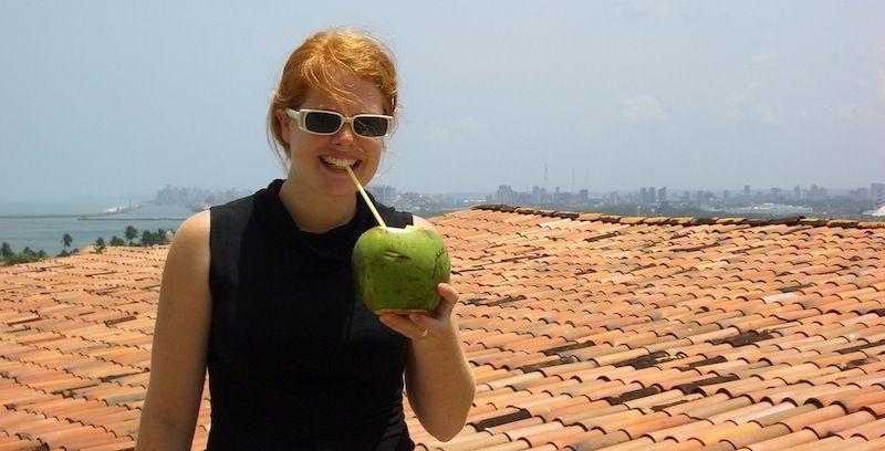 drinking coconut water in Brazil