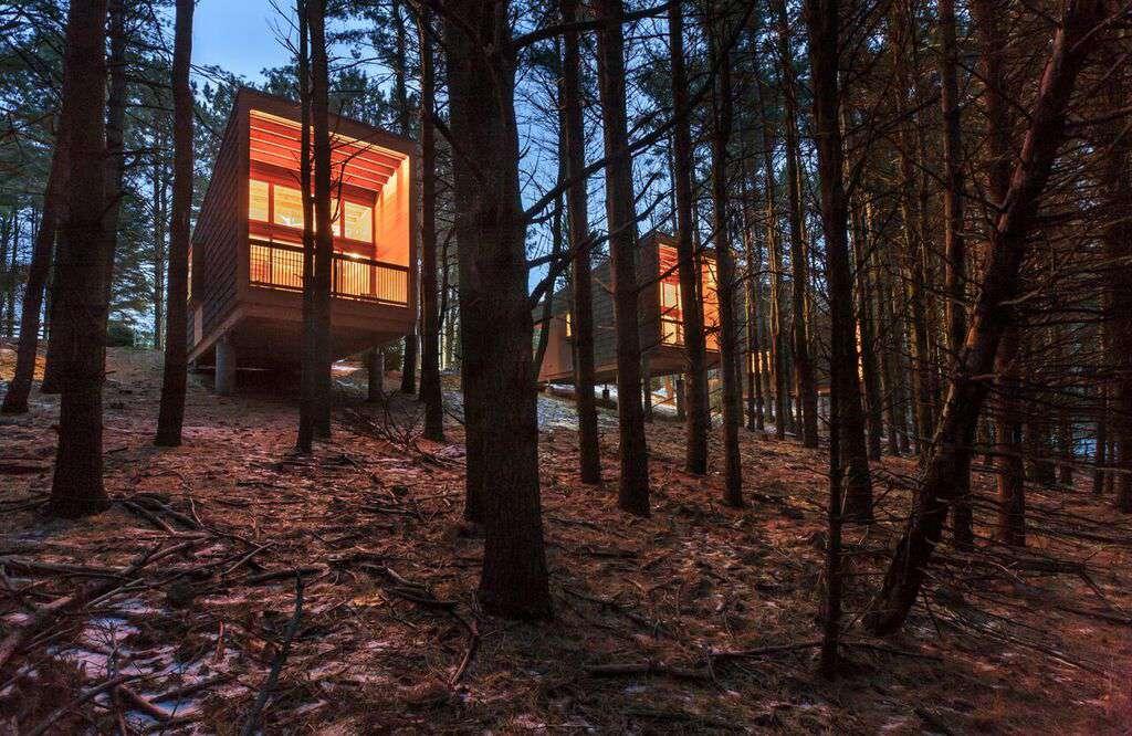 Exterior of AIA Housing Award-winning camper cabins at Whitewood Woods Regional Park, Dakota County, Minnesota