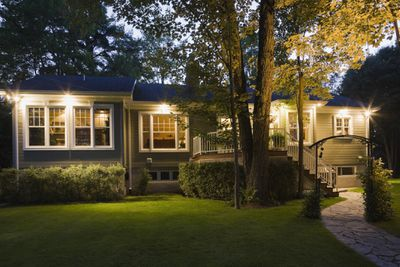 House with outdoor lights