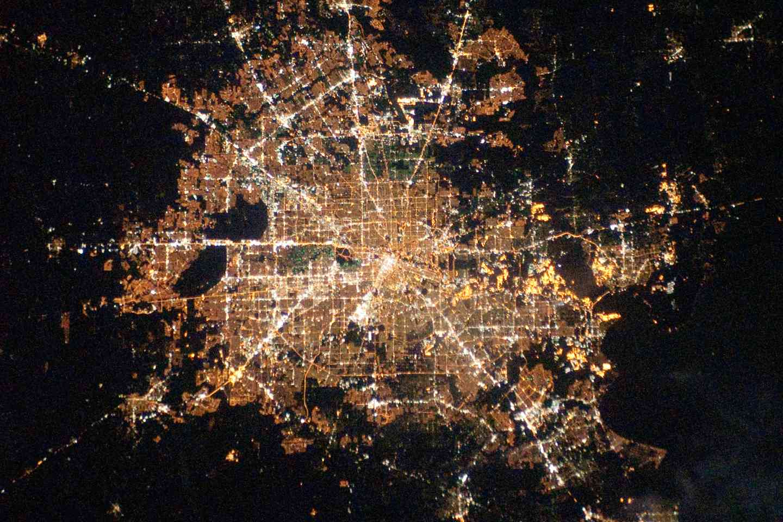 Satellite view of Houston, Texas, lit up at night