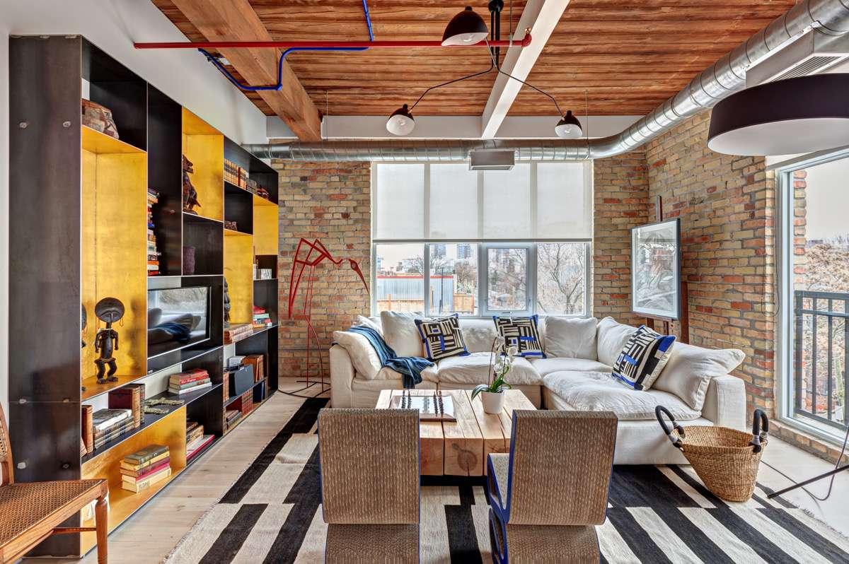 Living room brick walls
