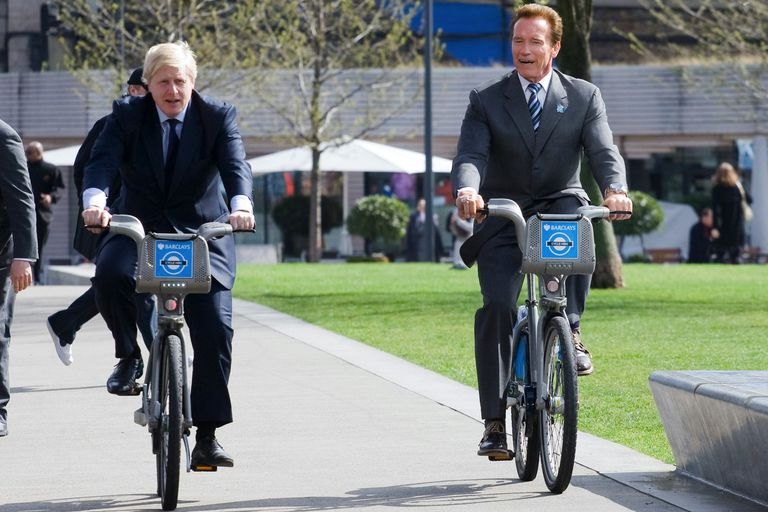 Boris Johnson taking a spin with Arnold Schwarzenegger.