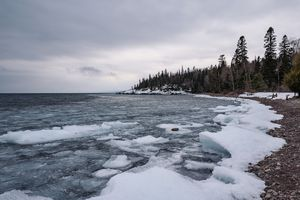 Lake Superior in winter with ice