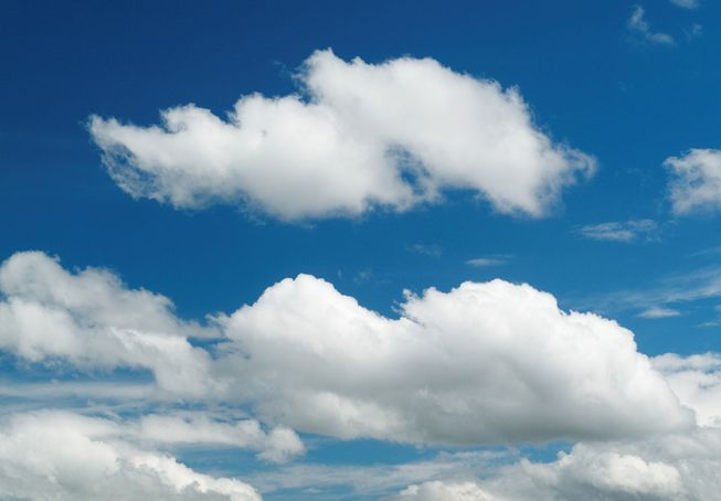 A collection of cumulus humilis against a blue sky.