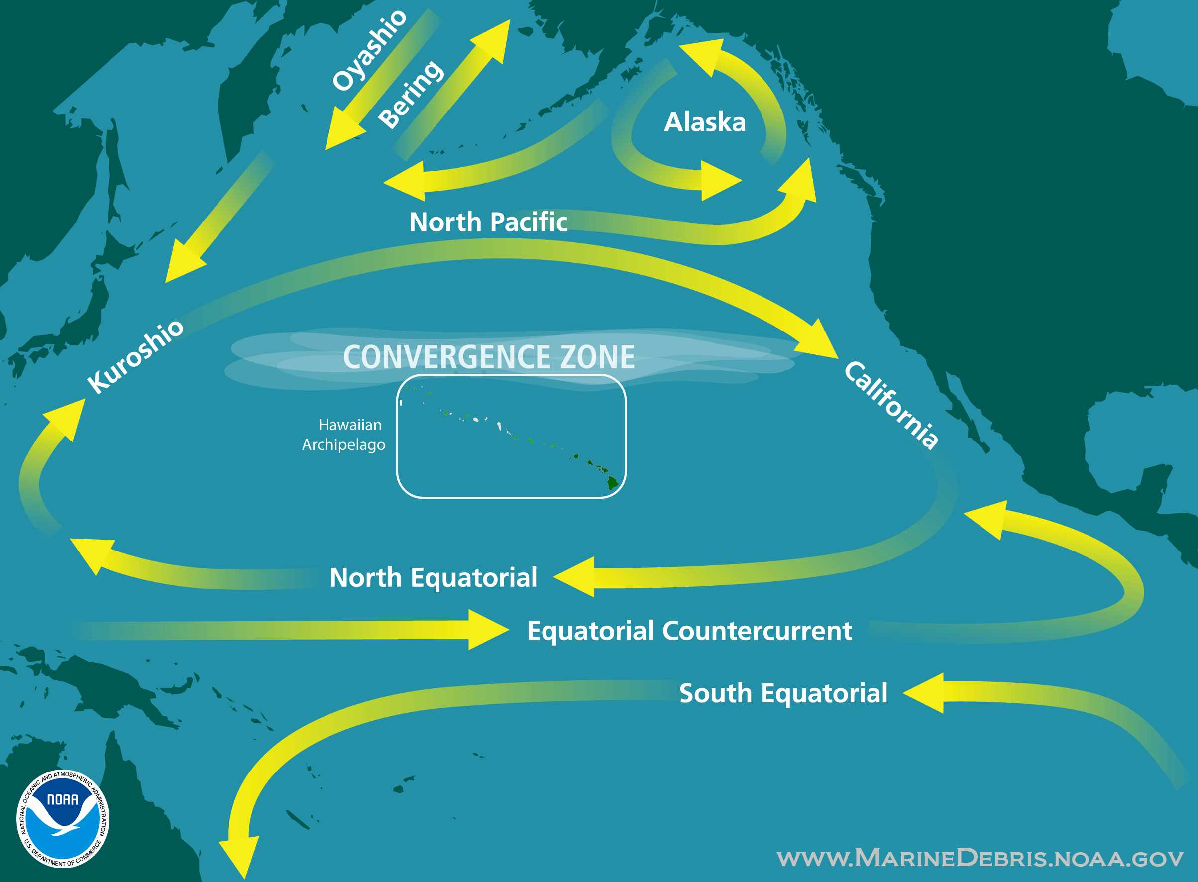 Illustration showing the convergence zone of ocean currents in the North Pacific