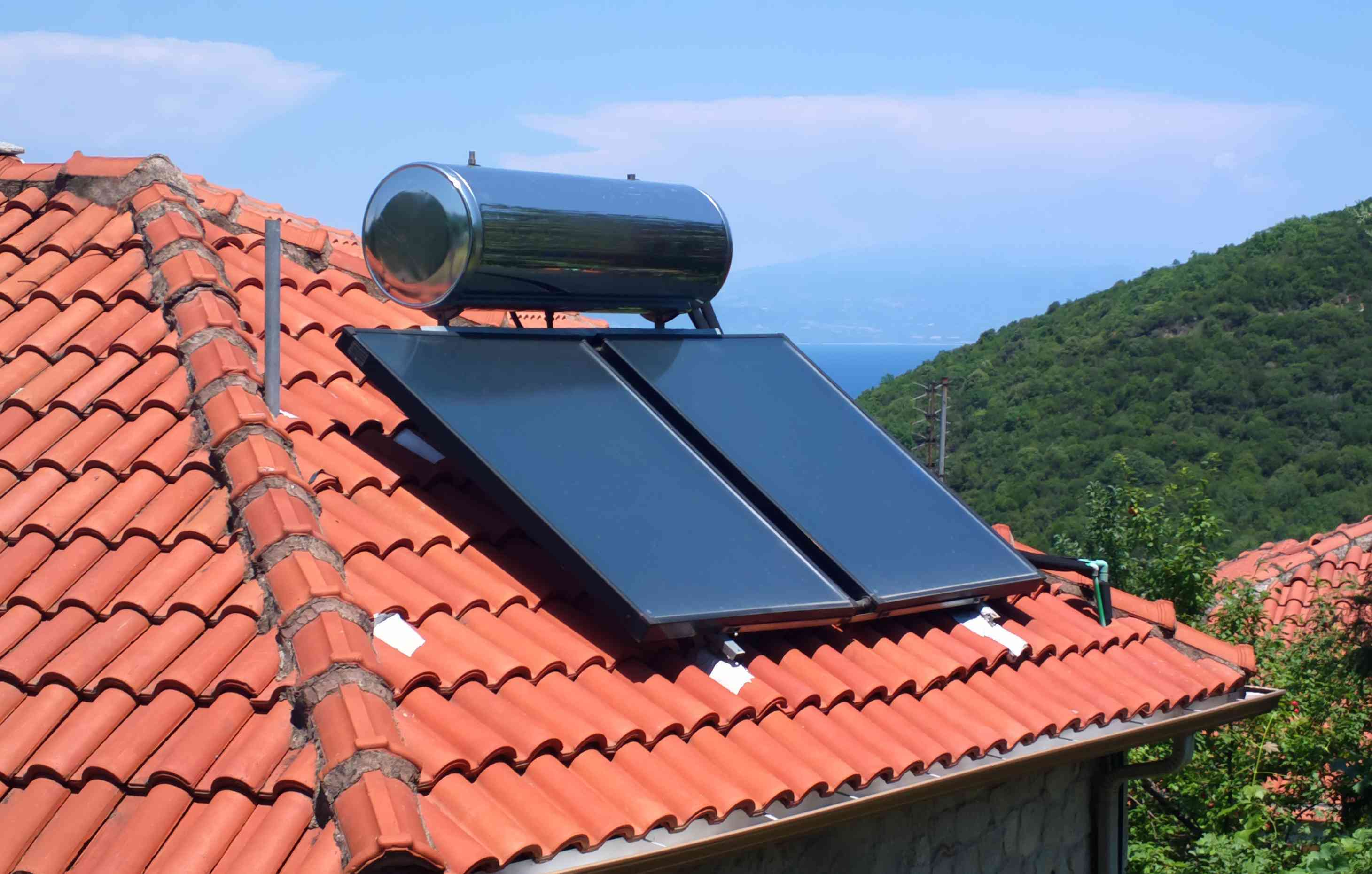 A rooftop solar water heater.