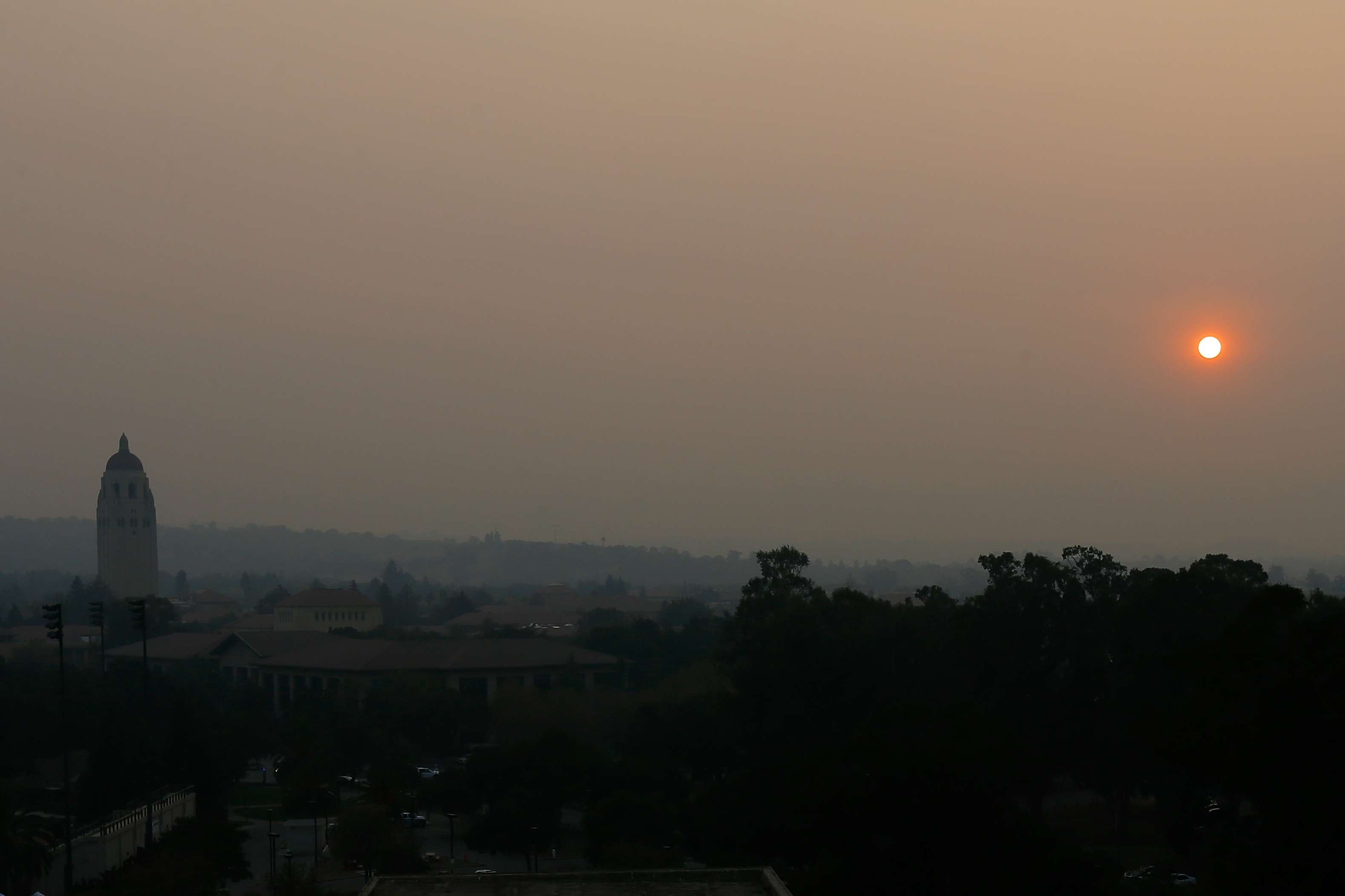 Stanford University obscured by wildfire smoke