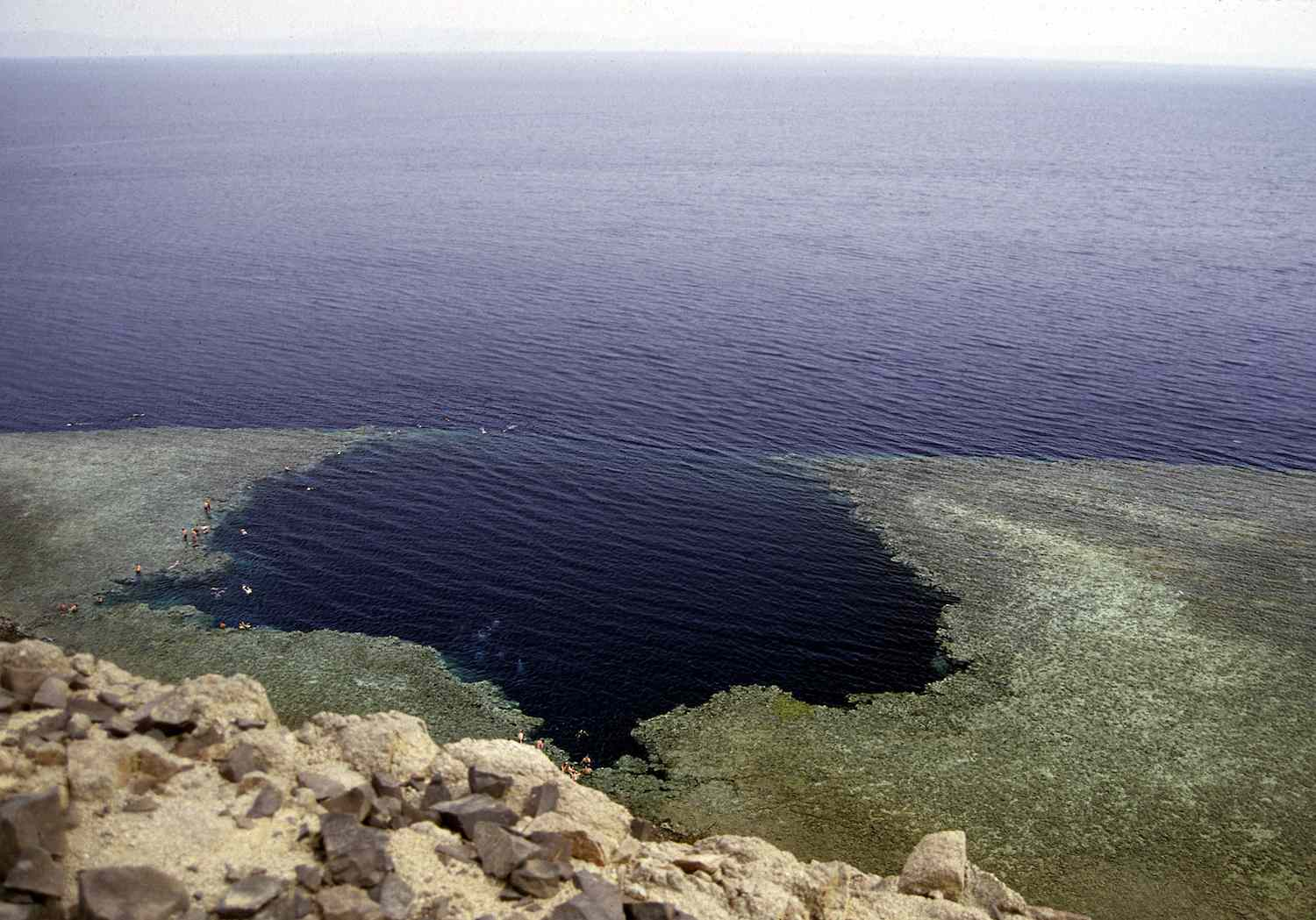 The mouth of The Blue Hole of Dahab off the shoreline of the Red Sea in Egypt