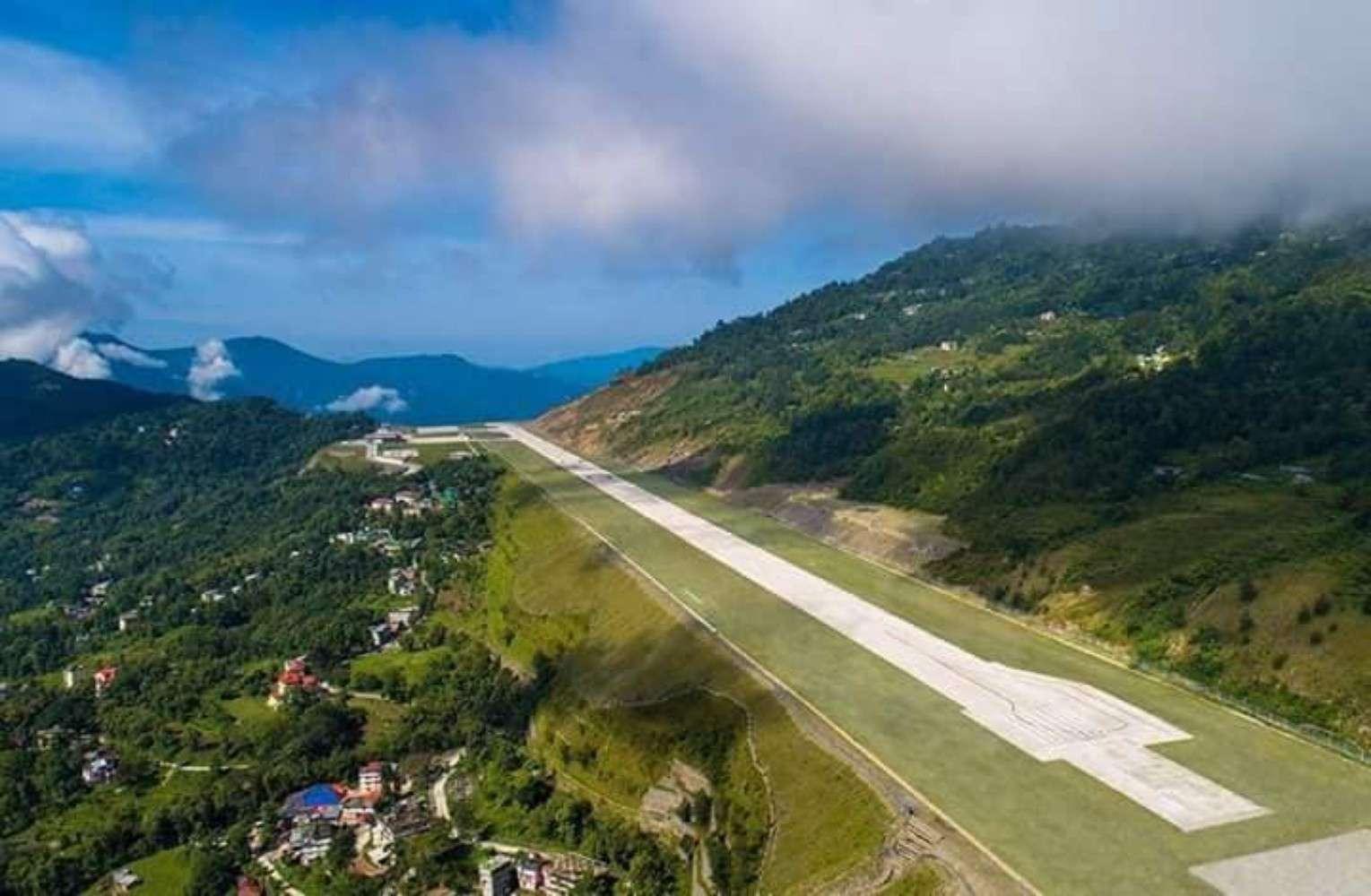 Pakyong Airport runway Sikkim India