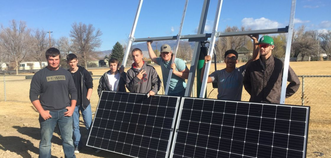 solar panel and students at Delta High School in Colorado