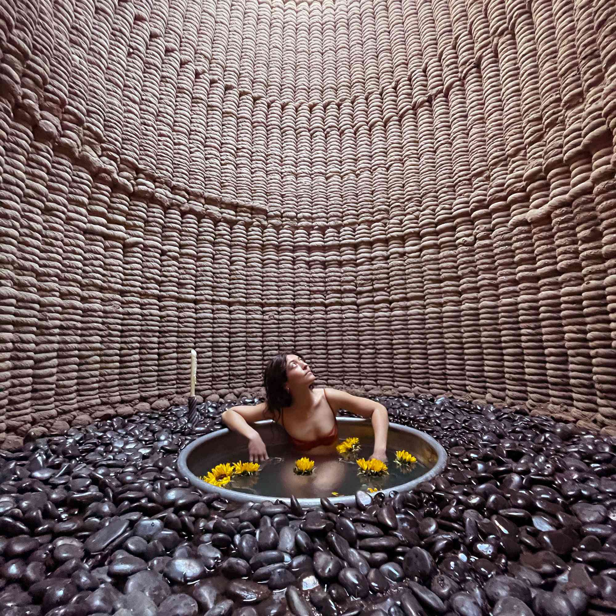 Casa Covida 3D printed adobe house by Emerging Objects bathing room