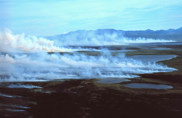Wildfire on the Arctic tundra in front of the Baird Mountains