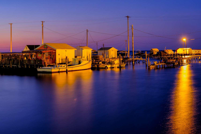 Boats docked at Tangier Island at dawn