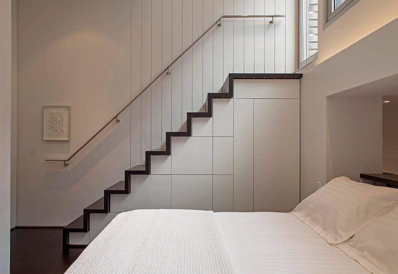 manhattan microloft specht architects sleeping loft stair with hidden cabinets