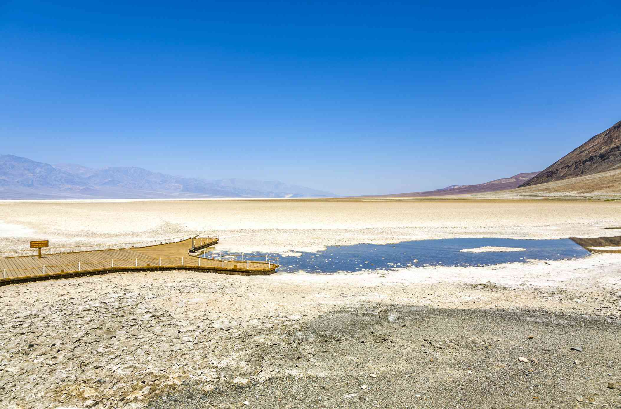 Mostly dried-up Badwater Basin in Death Valley National Park
