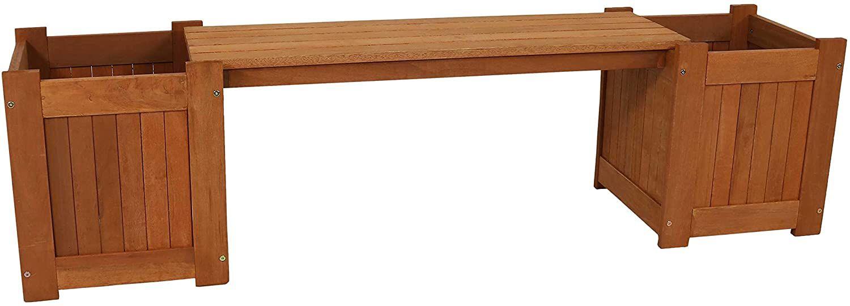 Sunnydaze Meranti Wood Outdoor Planter Box Bench with Teak Oil Finish