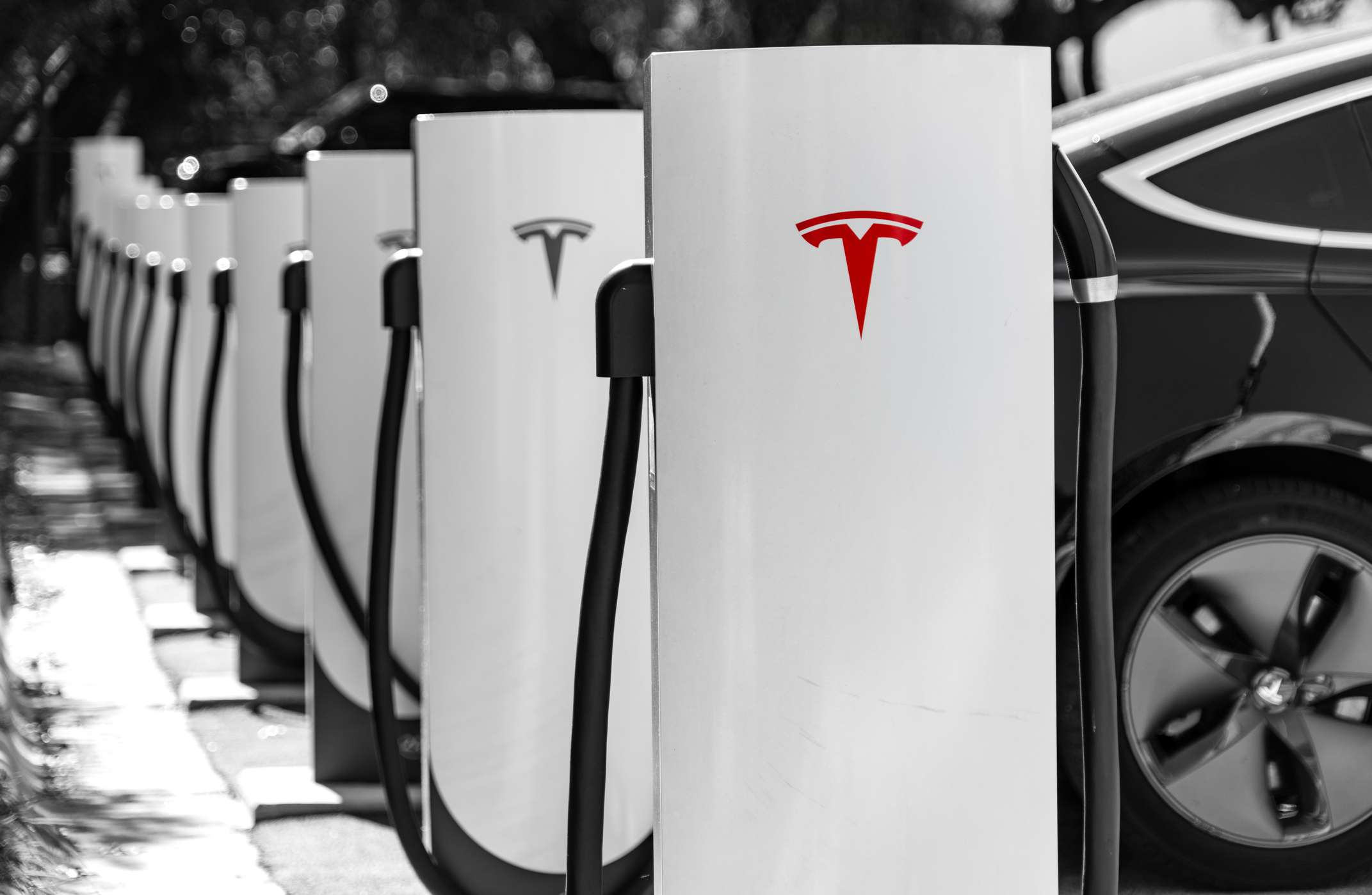 A row of Tesla charging stations.