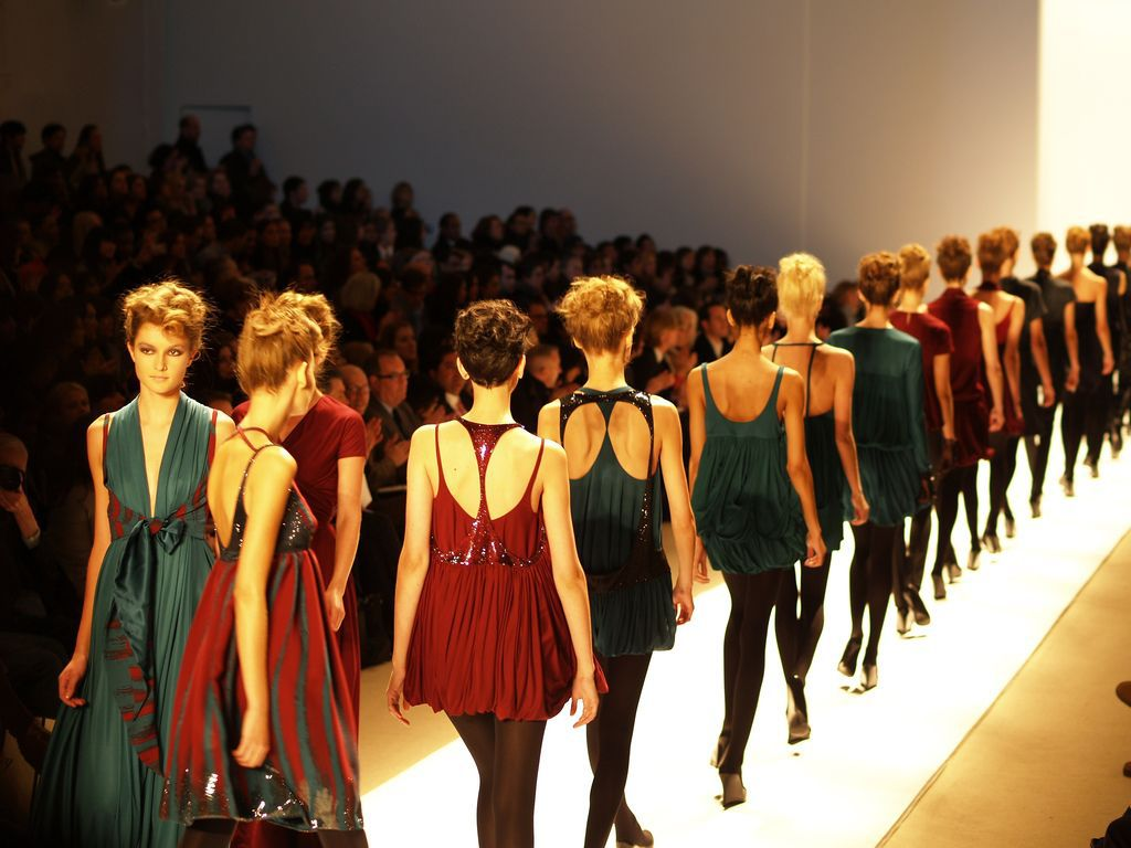 The runway with models at New York fashion week