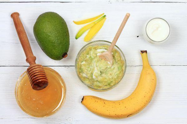 Face mask from avocado, yogurt, banana and honey