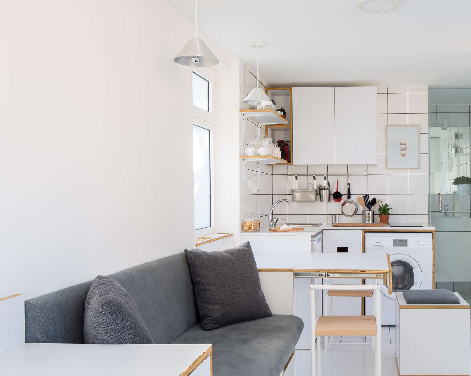 The Shoebox micro-apartment by Elie Metni sofa