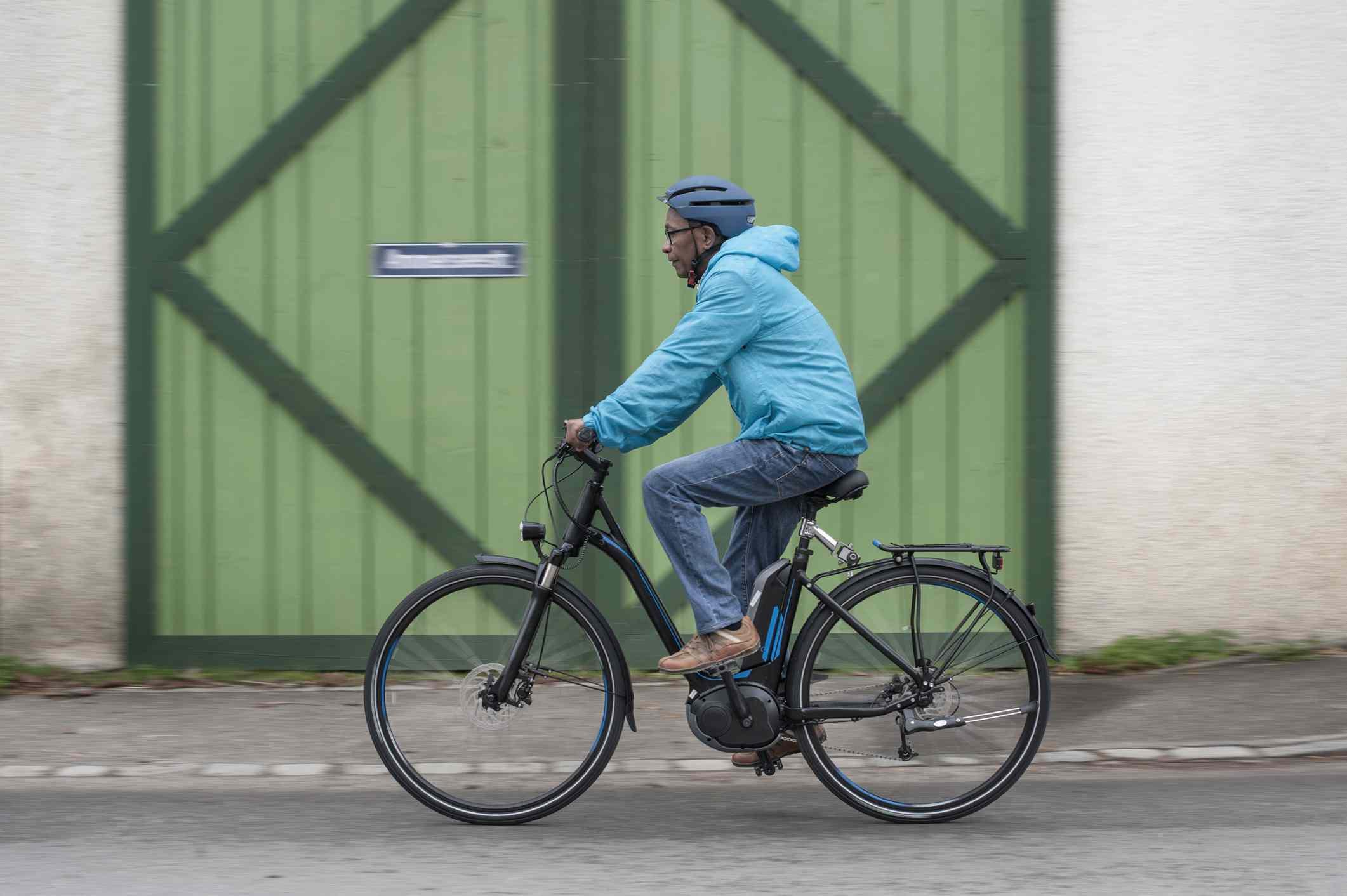 man riding an electric bike / e-bike
