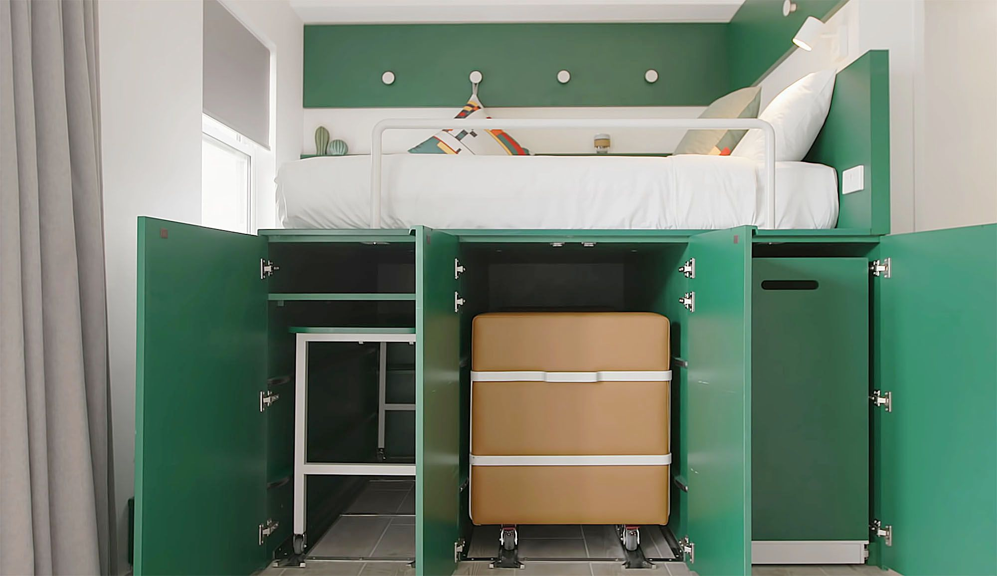 UKO stanmore coliving micro-apartment Mostaghim Associates bed cabinets open