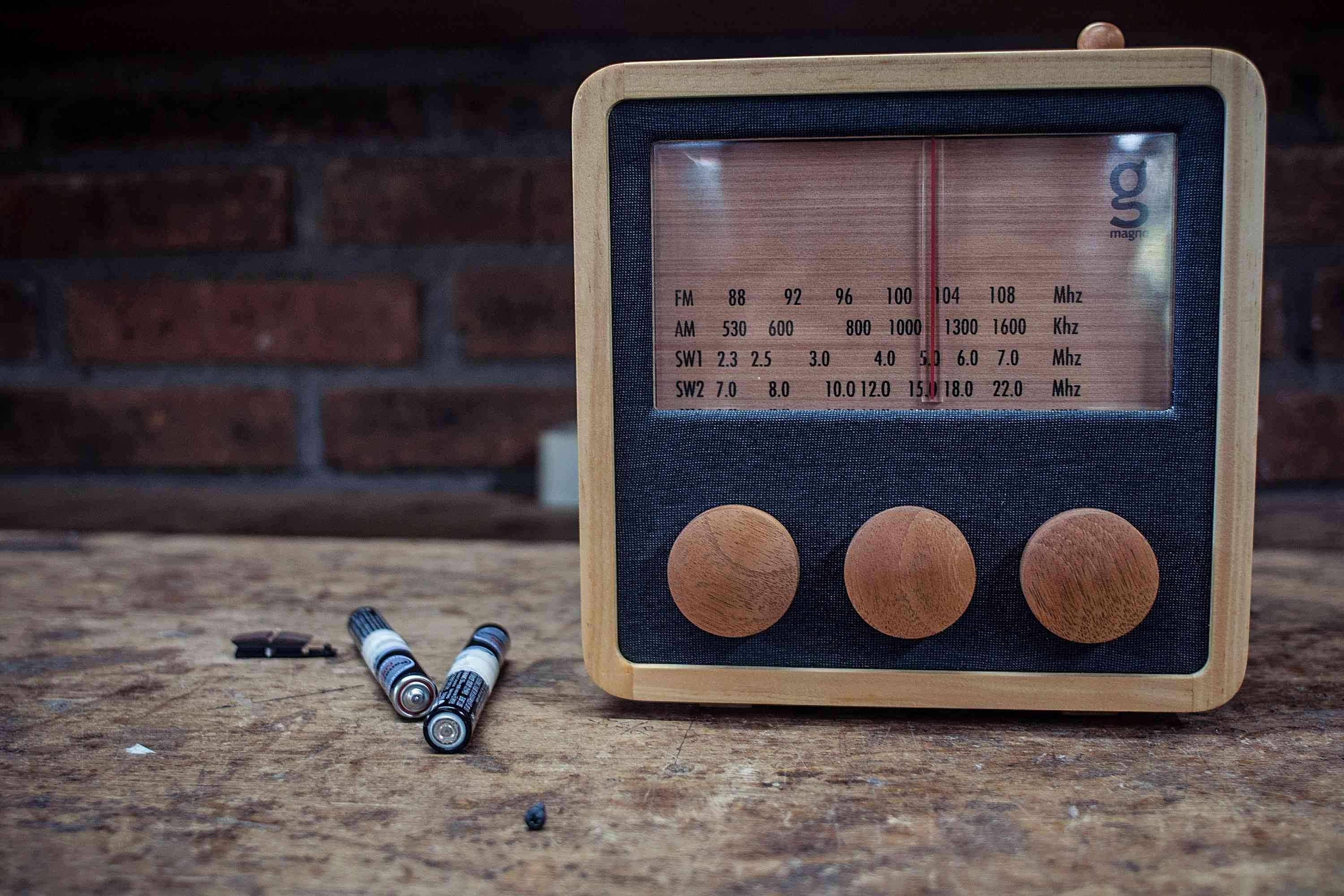 Magno wooden radio sitting on a counter