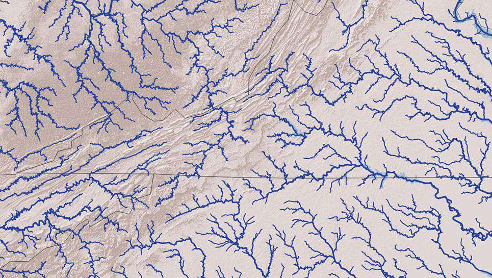 Rivers on a map